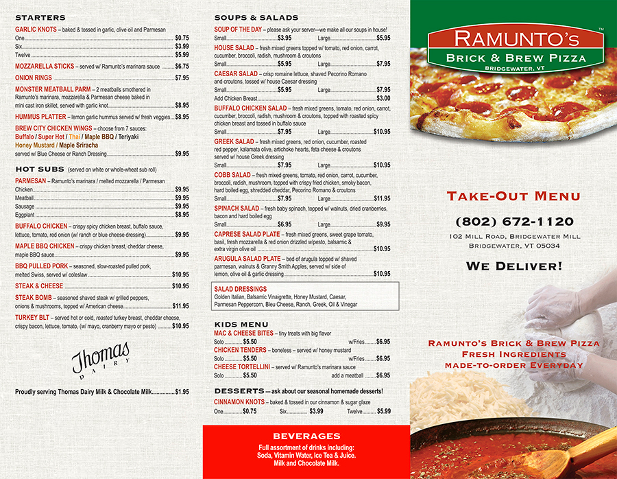 Take out menu ramuntos brick brew pizza for Take out menu